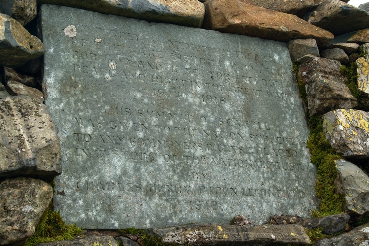 The plaque in the summit cairn, Scafell Pike