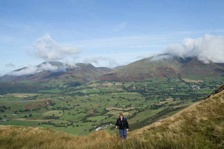 Skiddaw and Blencathra from the top of Fisher's Wife's Rake