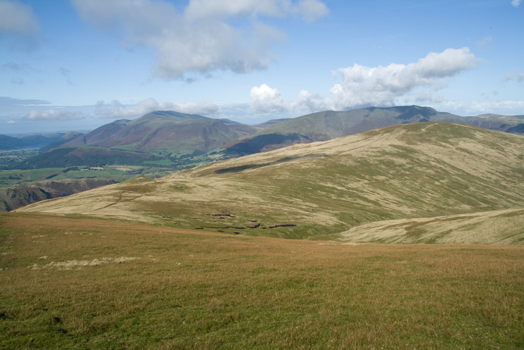 Looking back to Calfhow Pike and Clough Head as we head up Great Dodd