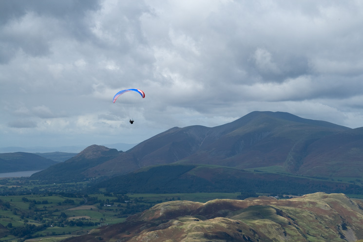 One of the many paragliders enjoying the fine weather