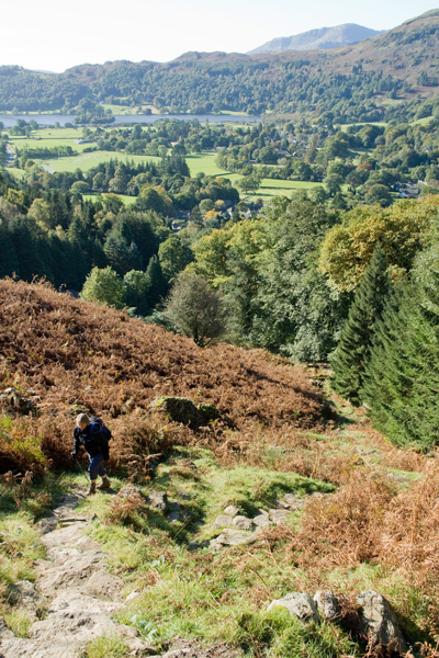 Climbing up onto the open fellside above Grasmere, its steeper than it looks in this photo!