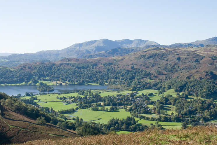Grasmere lake and village with the Coniston fells beyond