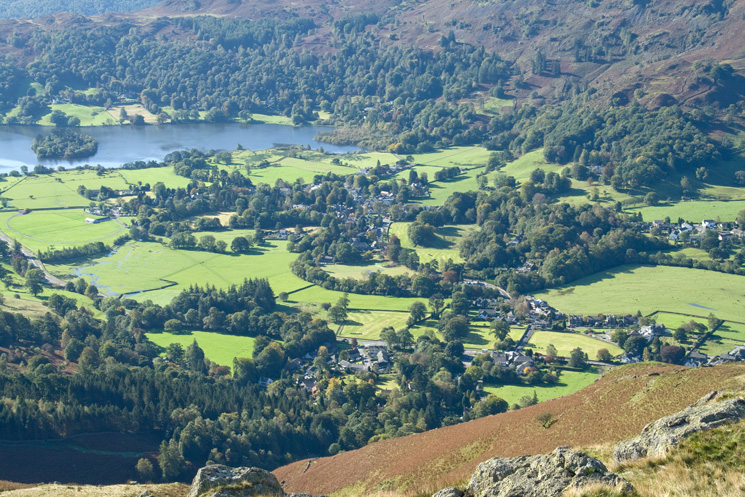Looking down on Grasmere village from Stone Arthur's summit