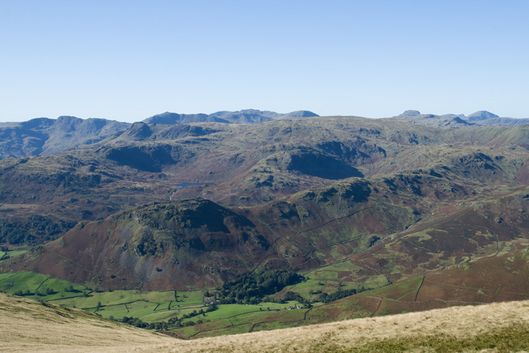 The view west from the Stone Arthur to Great Rigg ridge, too many fells to name