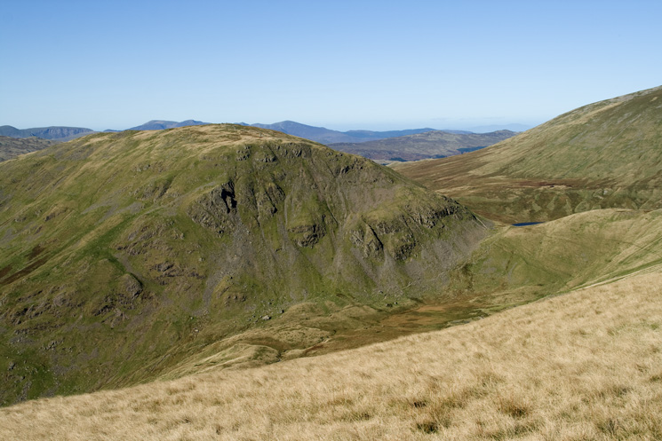 Seat Sandal and a glimpse of Grisedale Tarn. Hause Moss and our descent path far below