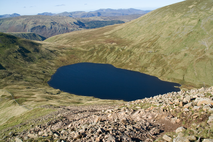 I said it got steeper, looking down on Grisedale Tarn