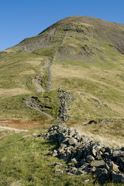 The descent path off Fairfield to Grisedale Hause