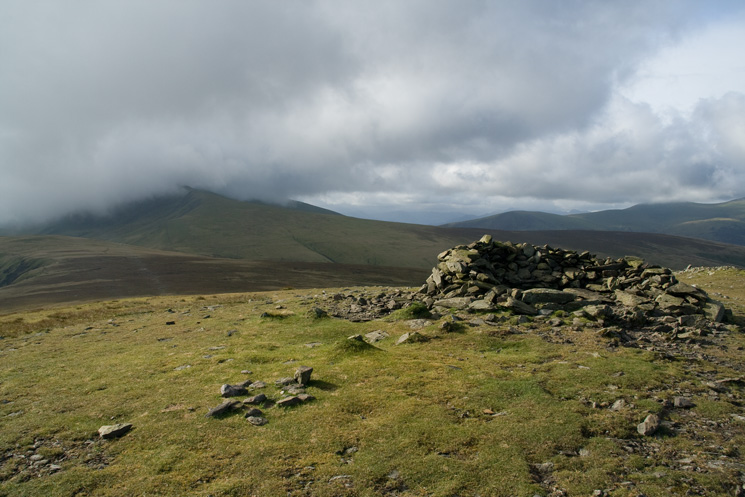 Bowscale Fell's summit, note the cloud on Blencathra
