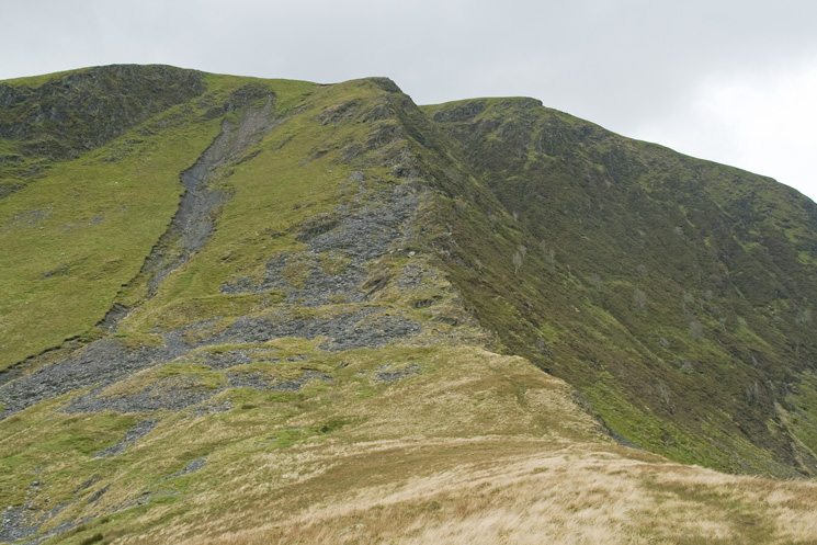 Looking back up the top steep section of Bannerdale Crags east ridge