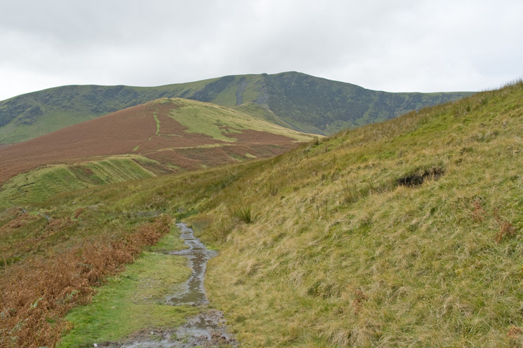 Looking back to Bannerdale Crags as I head for Mungrisdale
