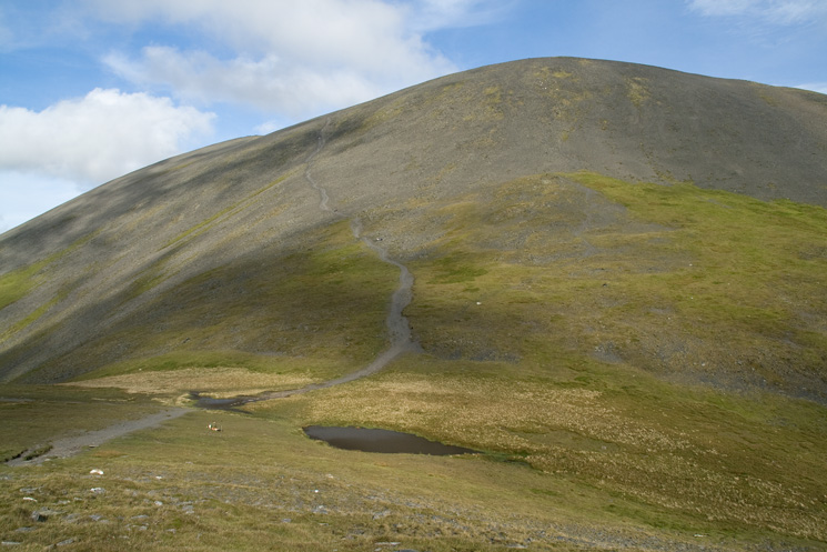The steep path up Skiddaw from Carlside Tarn
