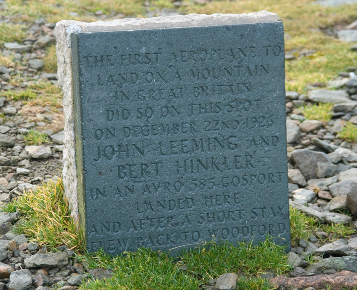 Memorial to the 1926 aeroplane landing on Helvellyn's summit