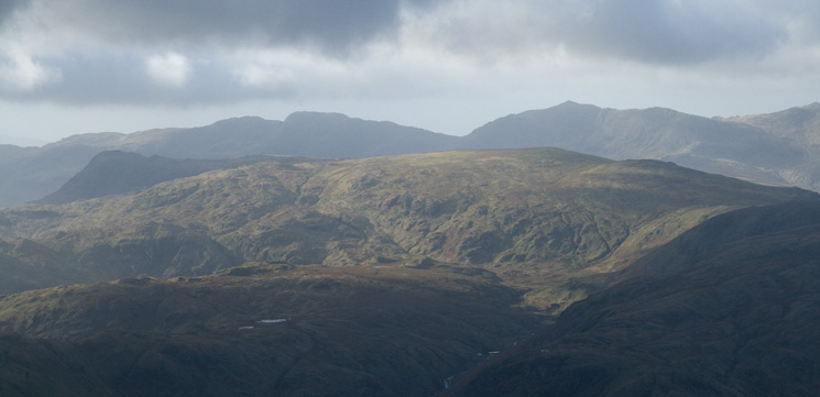 Sunshine on High Raise with Crinkle Crags and Bowfell behind