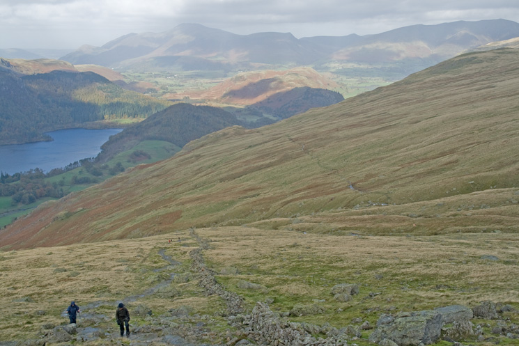 Looking towards Skiddaw. The 'White Stones' route can clearly be seen in the middle of the photo