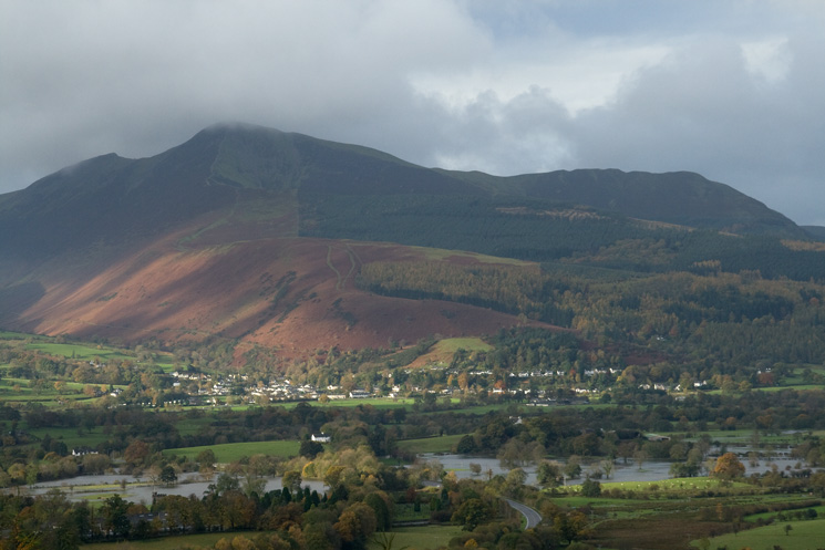 Looking across to Grisedale Pike, with flood water either side of the A66 road