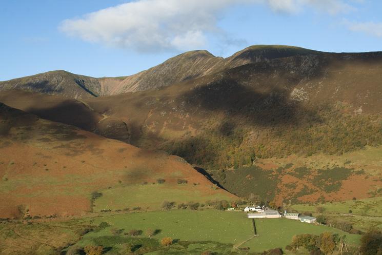 Wandope, Eel Crag and Sail (behind Ard Crags) with Keskadale Farm below