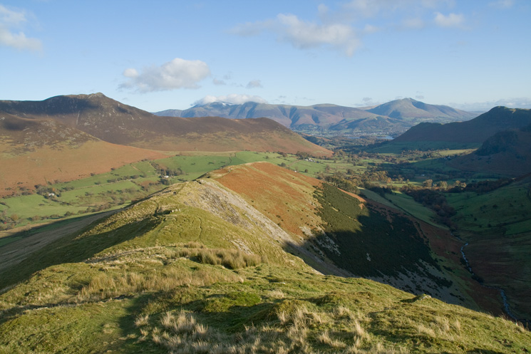 Looking back to High Snab Bank with great views of Causey Pike, Skiddaw, Blencathra and Catbells