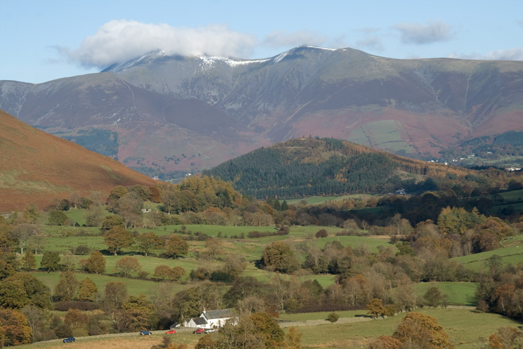 Newlands Church, the wooded Swinside and the Skiddaw fells