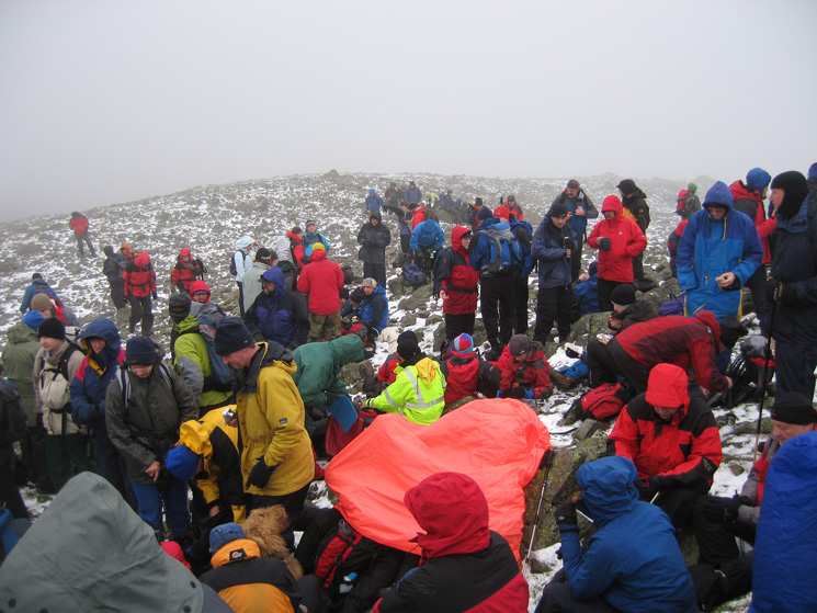 Part of the crowd at Great Gable's summit waiting for the Act of Remembrance