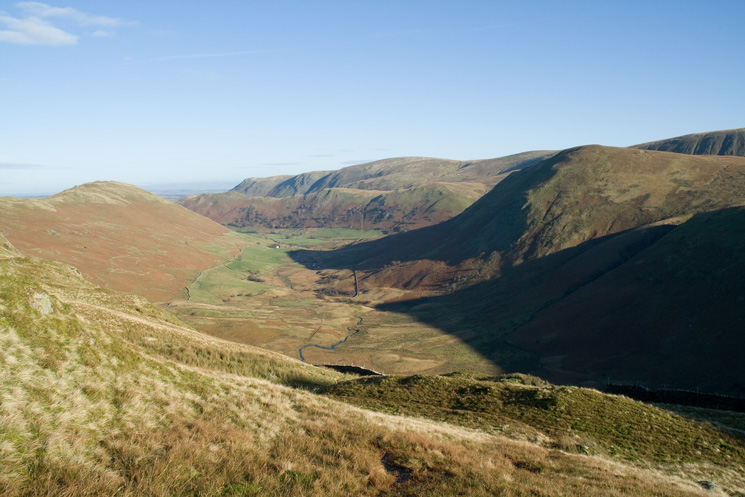 Looking back down into Bannerdale with The Nab on the right as I reach the ridge