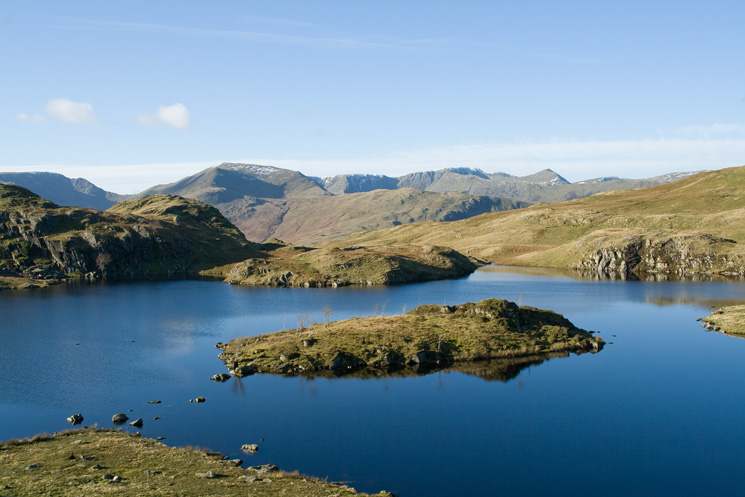 Looking across Angle Tarn to St Sunday Crag and Helvellyn