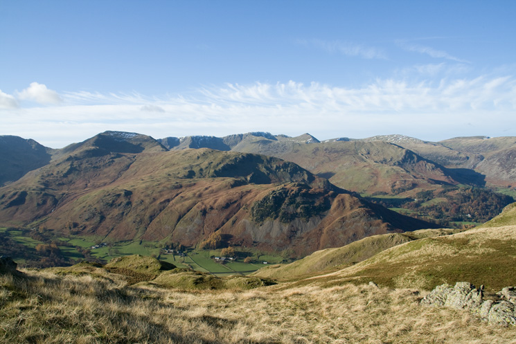 Birks with St Sunday Crag and the Helvellyn range behind