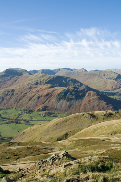 Birks with St Sunday Crag and the Helvellyn range behind from Angletarn Pikes' north top