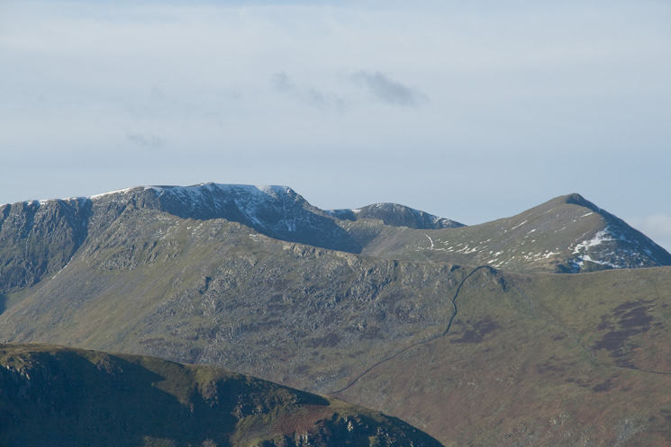 Zooming in on Striding Edge, Helvellyn and Catstycam