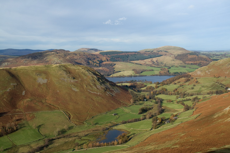 Looking over Sleet Fell, Boredale and Ullswater to Gowbarrow Fell, Great Mell Fell and Little Mell Fell