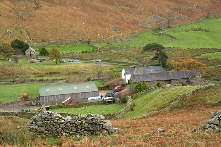 Winter Crag Farm with Martindale Old Church top left