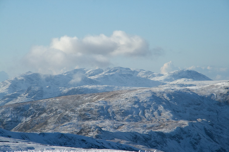 Bowfell, Scafell, Scafell Pike behind Esk Pike and Great End