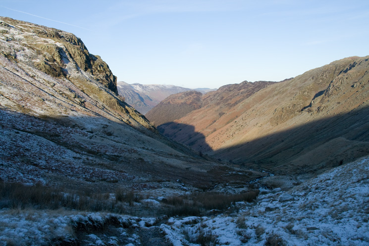 Looking back down Greenup Gill with Eagle Crag on the left