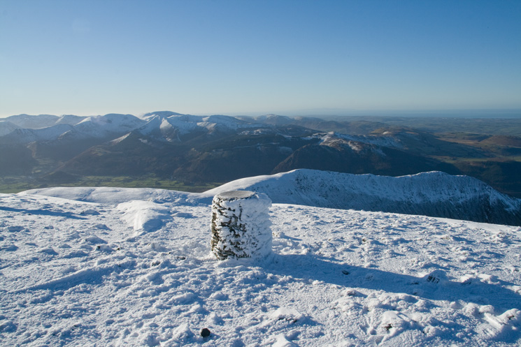 Long Side and Ullock Pike from Skiddaw's summit with the north western fells beyond