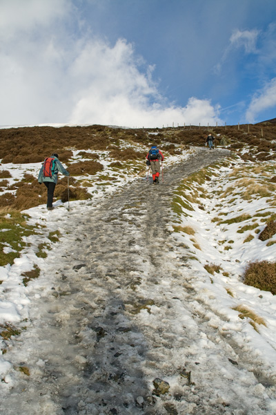 Heading up Jenkin Hill, slushy today