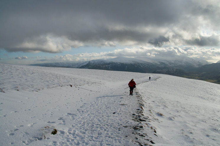 Ascending Jenkin Hill with the Helvellyn ridge behind