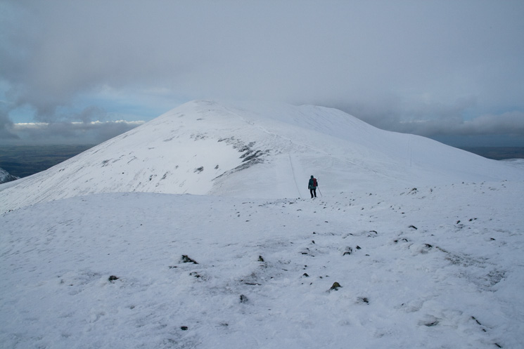 Leaving Little Man's summit with Skiddaw ahead