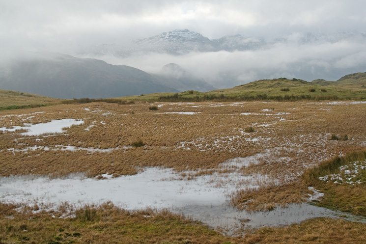 Pike o'Blisco seen across Lang How Tarn (Youdell Tarn)