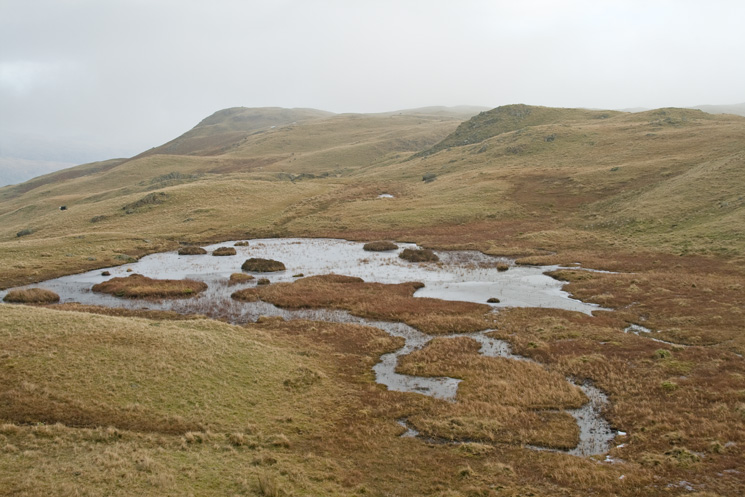 Looking across to Silver How from Brigstone Tarn, to the southeast of Lang How Tarn