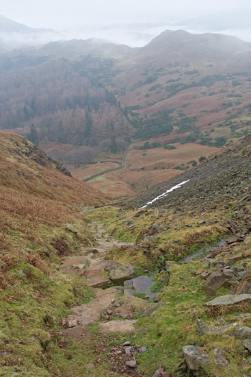 The steep descent off Silver How. The path was not pitched last time I was here in April 2004