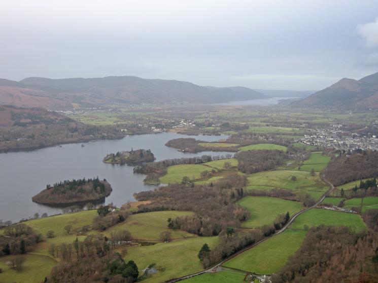 Derwent Water and Bassenthwaite Lake from Walla Crag's summit