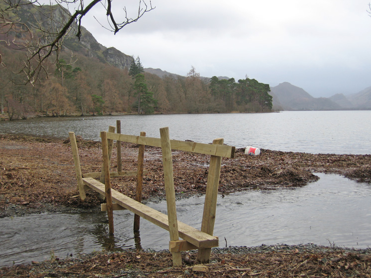 A new footbridge on the Derwent Water shore side path at Calfclose Bay