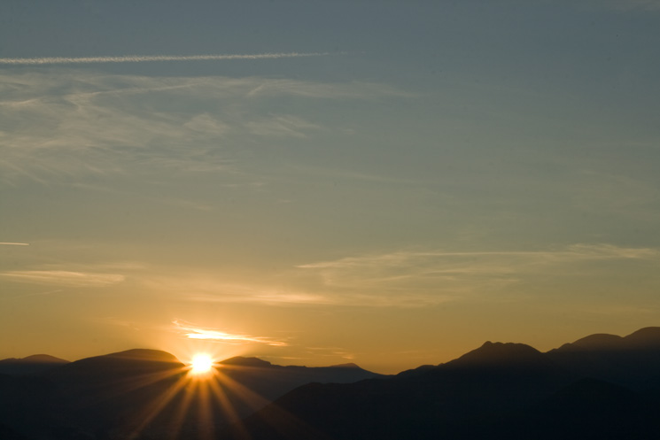 Sunset over the north western fells