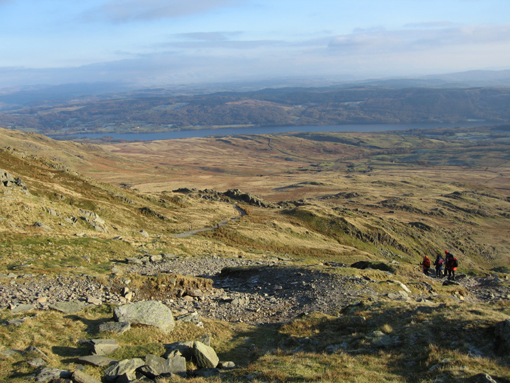 The Walna Scar Road with Coniston Water in the distance