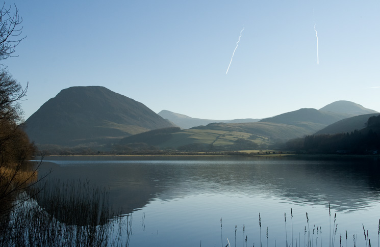 Looking across Loweswater to Mellbreak and Hen Comb with Red Pike (Buttermere) in the distance