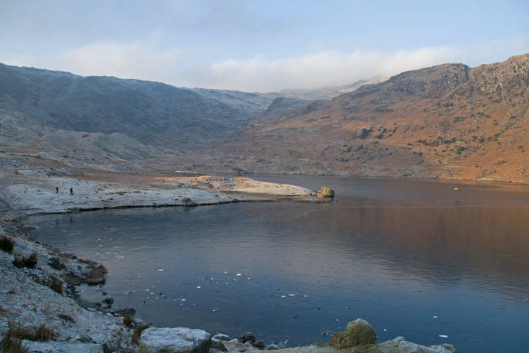Easedale Tarn, the pointed peak is Belles Knott