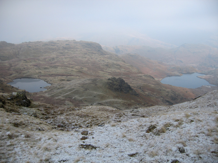 Looking down on Codale Tarn, Belles Knott and Easedale Tarn