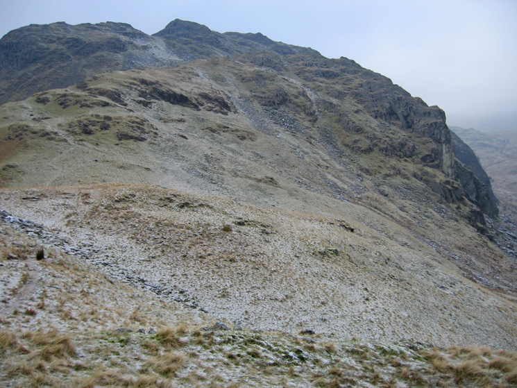 Looking back up the top part of Tarn Crag's east ridge to its summit with Deer Bield Crag on the right