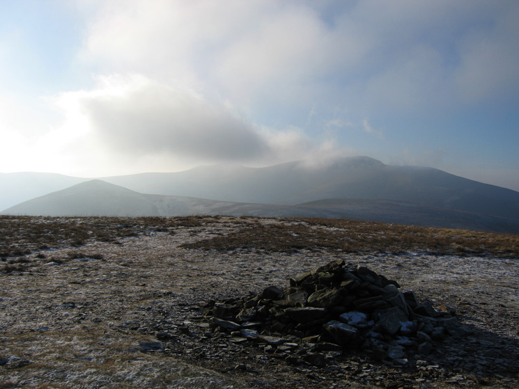 The pointed Great Calva with Skiddaw behind from Knott's summit