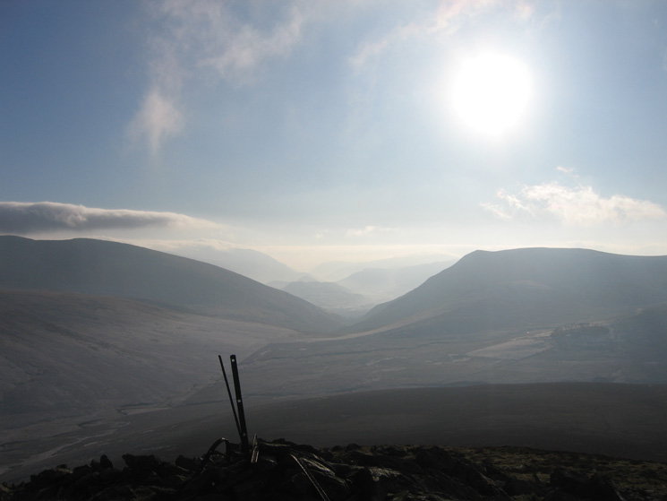 South from Great Calva looking through the gap between Blencathra and Lonscale Fell