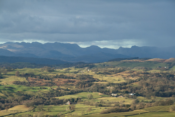 Zooming in on the Scafells, Bowfell, Great Gable and the Langdale Pikes